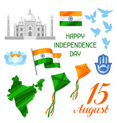 India independence day set of objects celebration vector