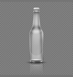 Empty transparent beer or water bottle realistic vector