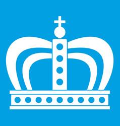 Monarchy crown icon white vector