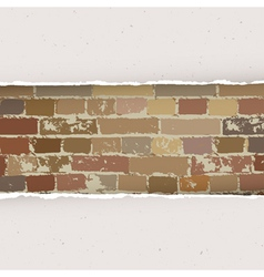 torn paper on brick wall background vector image