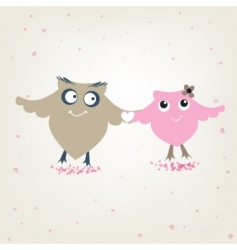 Cute owls couple in love vector