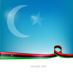 Libya flag on sky background vector