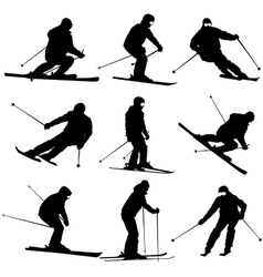 Set mountain skier speeding down slope vector