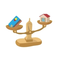 Credit card and house on scales icon vector