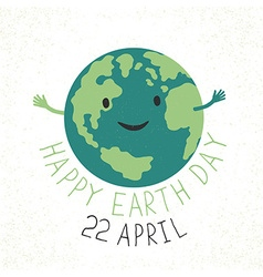 Earth day earth smiling and reveals a hug grunge vector