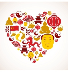 Heart shape with china icons vector