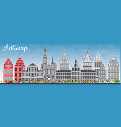 Antwerp skyline with gray buildings and blue sky vector