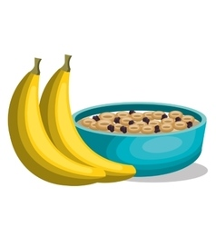 Banana and cereal breakfast vector