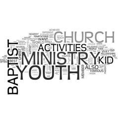 Baptist church youth activities text word cloud vector