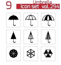 black umbrella icons set vector image vector image
