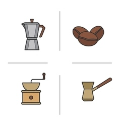 Coffee color icons set vector image