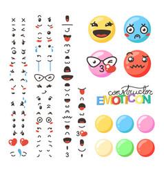 constructor of cute lovely kawaii emoticon vector image vector image
