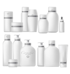 Cosmetic bottle realistic mock up set vector