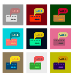 Flat assembly icons of bank card sale vector