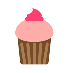 flat color cupcake icon vector image