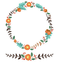 flowers acorn and leaves forest wreath vector image
