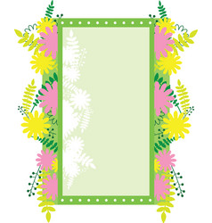 Frame rectangular with abstract flowers vector