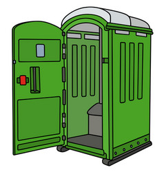 Green opened mobile toilet vector