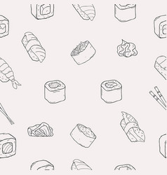 japanese seafood sushi rolls seamless pattern vector image vector image