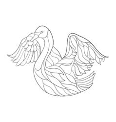 Monochrome hand drawn zentagle of swan coloring vector