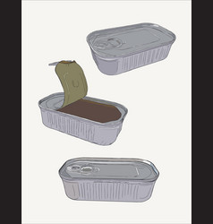 Opened and closed food tin cans sketch vector