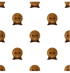 Rum seamless pattern in flat style barrels with vector