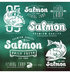 Set of fishing labels in retro style vector