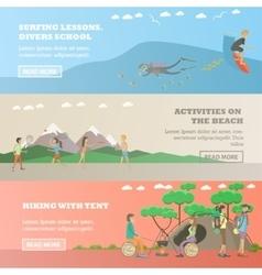 Set of water sports outdoor activity vector