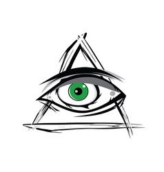 The all seeing eye - green firey flame illuminati vector