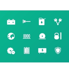 Tools icons on green background vector