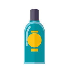 Transparent plastic bottle of blue mouth rinse vector
