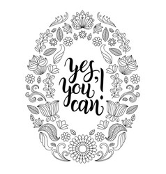 Yes you can hand lettering poster vector