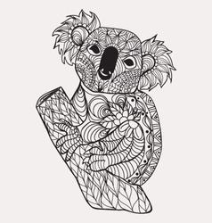 Zentangle style koala black white hand drawn vector