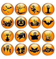 Glossy halloween icon set vector