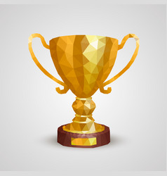 Winner cup 3d polygon vector