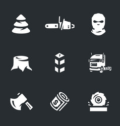 set of illegal logging icons vector image