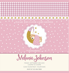 lovely baby shower card template with golden vector image