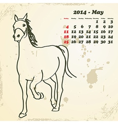 May 2014 hand drawn horse calendar vector