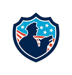 American Security Guard With Police Dog Shield vector image