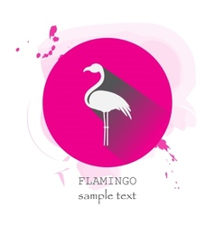 Flamingo icon with long shadow vector