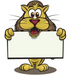 cute lion holding sign vector image
