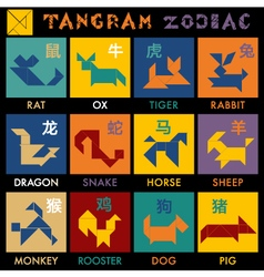 Tangram zodiac color vector