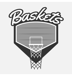 Black and white basketball label with basket vector