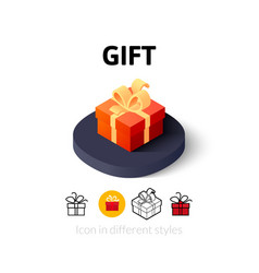 Gift icon in different style vector