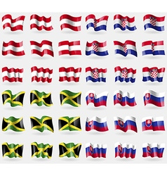 Austria croatia jamaica slovakia set of 36 flags vector