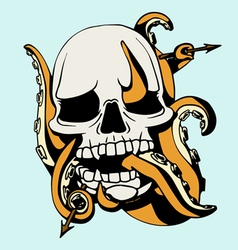 Skull with tentacles vector