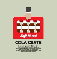Flat design cola crate in hand vector