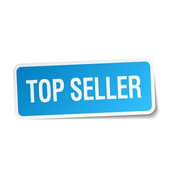Top seller blue square sticker isolated on white vector