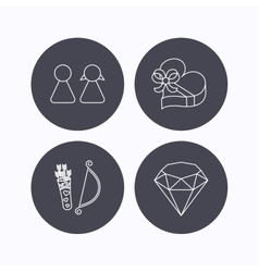 Couple brilliant and engagement gift box icons vector