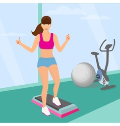 Beautiful woman doing aerobic workout in the gym vector
